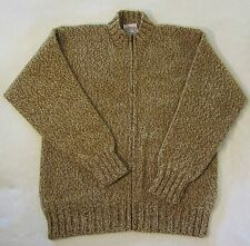 Jamiesons Sweater Coat sz L Shetland Wool Brown Camel Gray Zip Front Jacket Warm