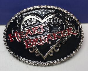 Montana Silversmiths Heart Breaker Black Enamel Womens Belt Buckle NEW