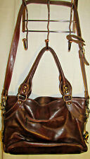 FLOTO Taormina Italian Leather LARGE Handbag Shoulder Women Brown ITALY Designer