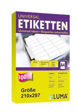50 Blatt DIN A4 LUMA Etiketten 210x297mm 21 X 29 Cm WEISS selbstklebend