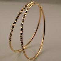 18ct Gold Filled Endless Diamond Cut Hoop Earrings 50mm 5cms Diameter UK