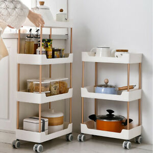 2/3/4 Tier Kitchen Food Storage Trolley Vegetable Cart Rack Shelf Bathroom
