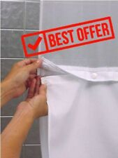 Shower Bath Bathroom Hookless Snap-In Fabric Liner for Shower Curtain - White