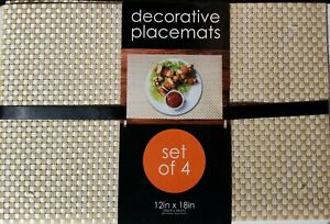 """Decorative Placemats  Outdoors  Indoors Plastic WEAVE  12"""" X 18"""" Set of 4"""