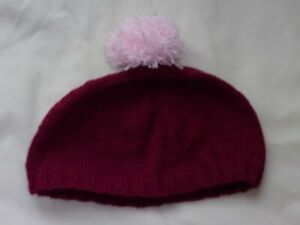 Ladies Hand Knit Dark Pink Beanie Hat with Pale Pink Bobble - BNWOT