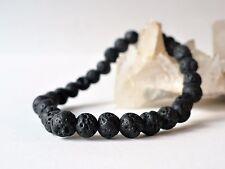 Bracelet élastique pierres de lave (perles 6 mm) - pierre gemme naturelle
