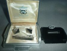 VTG ANSON STERLING SILVER CUFF LINKS & TIE CLIP + OTHER STERLING TIE CLIP