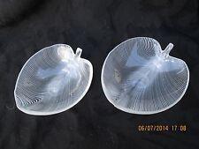 """Antique Original Art Glass Murano-Venini-""""Tyra Lundgren"""" Leaf Bowl Pair - 1930's"""