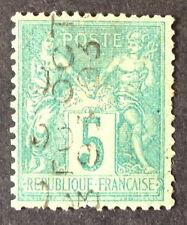 Timbre France PREOS, n°15, 5c vert, Obl, TBC, cote 650e. Signe Brun.  Rare