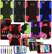 DUAL COMBO MESH SOFT SILICONE RUBBER SHOCK PROOF CASE COVER FOR MOBILE PHONES