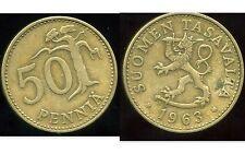 FINLANDE   50 pennia  1963