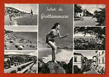 GROTTAMMARE (ASCOLI PICENO), SALUTI CON 6 VEDUTE + RAGAZZA IN BIKINI, ANNI '60 m
