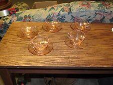 Vintage Pink Depression Glass Panel Pattern Cup & Saucer