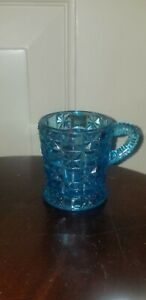 ANTIQUE CHILD'S DOLL TOY MINIATURE EAPG BLUE glass MUG CUP Bellaire log & star