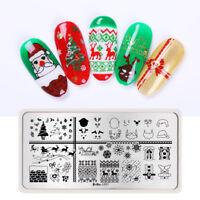 HARUNOUTA Nail Stamping Plates Rectangle Santa Claus Nail Art Stamp Image Plate