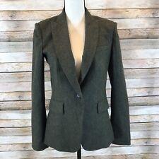 Veronica Beard Womens Size 6 Wool Green Striped Herringbone Dickey Jacket Blazer