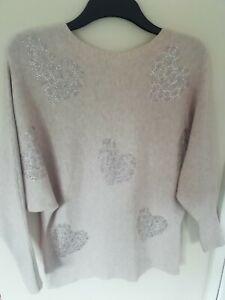 Jumper 14 Pale pinky beige sparkle hearts Quiz Long sleeve light modal/cotton