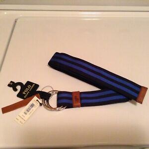 NEW $65 Polo Ralph Lauren Men leather /webbed Belt STRIPED DOUBLE D RING  sz S