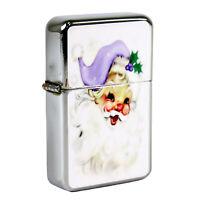 Refillable Oil Windproof Flip Top Lighter Purple Santa Claus Face Retro Vintage
