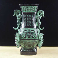 Chinese Antique Bronze double dragon vase home decoration