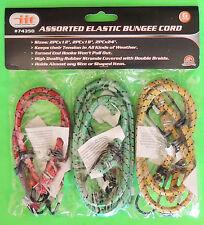 "6pc Elastic Bungee Cords Straps Tie-Downs 12"" 18"" & 24"" Galvanized Steel J-Hooks"