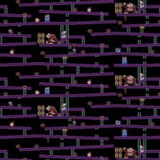 Springs Creative Fabric Mario Jumpmans Acsent Black PER METRE Licensed Nintendo