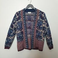 M&S Indigo Floral Abstract Alpaca Blend Cardigan (UK Size 14) Knitted Warm Open