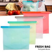 8PCS Kitchen Fresh Zip lock Bag Reusable Silicone Food Freezer Storage Ziplock