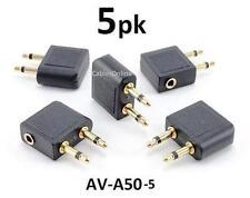 5-PACK 3.5mm Audio Airplane In-Flight Headphone Converter Travel Adapter AV-A50