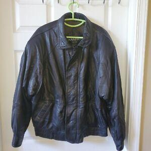 ANDREW MARC New York Mens Black Leather Jacket Cafe Racer Large