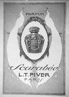 PUBLICITÉ DE PRESSE 1913 PARFUM SCARABÉE DE L.T.PIVER PARIS - PAON
