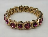Gold Plated Pink Rhinestone Crystal Stretch Bracelet Wedding Prom Pageant #055