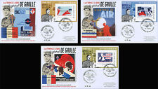 "Set 3 FDC ""75 years Appeal - DE GAULLE / Free French Air Forces - F.A.F.L."" 2015"