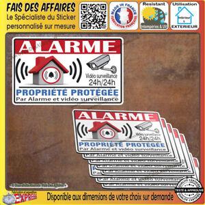 lot Stickers autocollant alarme protection site sous video surveillance decal