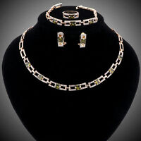 Women Crystal Zircon Gold Plated Necklace Earring Bracelet Ring Jewelry Sets