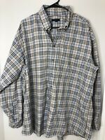 Burberry Mens Button Front Shirt Tan  Plaid Long Sleeve 100% Cotton XL