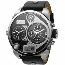 DIESEL  DZ7125 BIG DADDY BLACK LEATHER STRAP SILVER TONE