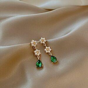 Fashion Green Geometric Crystal Stone Dangle Earrings Stud Women Party Jewelry