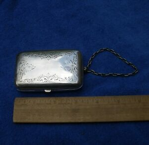 Fine COIN SILVER(?) Card or Cheroot Case-Wristlet Chain-Engraved Decoration-NR!