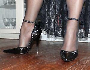 high heels 38 NEU 13cm Absatz schwarz spitz Stiletto LEDAPOL Lack