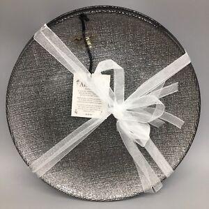 x4 Akcam Turkish Glass Dessert Plate Set Holiday Silver Graphite Sparkle Glitter