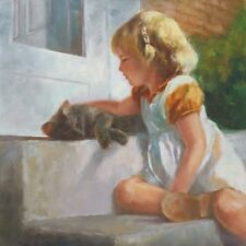 Me And My Shadow by Susan Blackwood Signed Canvas Kitty Cat Little Girl 20x20