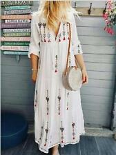 Women's Fashion Floral V Neck Drawstring Long Sleeve Boho Loose Long Dress BYW20