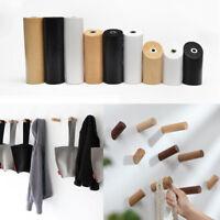 Solid Oak Wooden Wall Coat Hook Peg Natural/Black/White Home Hat Coat Key Hanger