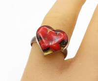 925 Sterling Silver - Vintage Coral Heart Glass Art Cocktail Ring Sz 8 - R16473
