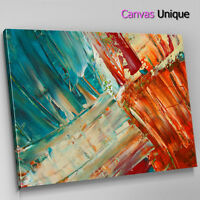 AB1539 paint effect blue orange Abstract Wall Art Picture Large Canvas Print