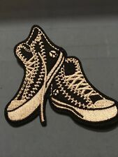 "Sneakers Embroidered Iron/Sew ON Patch 3"" x 2.75"" High top Black shoes"