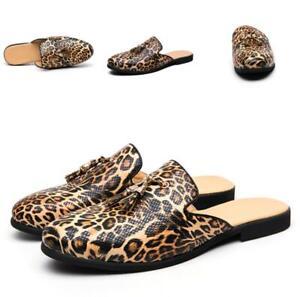 Fashion Mens Leopard Slip On Loafers Tassels Clubwear Slippers Shoes Moccasins D