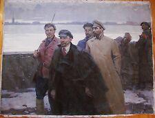 Russian Ukrainian Soviet oil painting Lenin Dzerzhinsky people realism worker