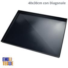 Emili Teglie Teglia Ferro Blu Forno 40x30x2cm per Pizza Professionale 8/10